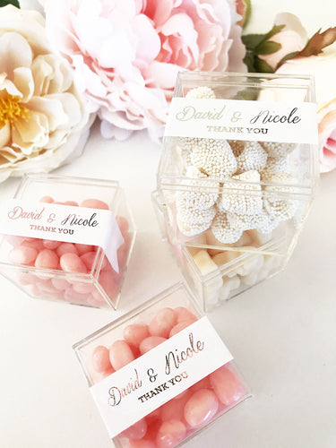 20 Personalized Acrylic Favor Boxes - Metallic Foil