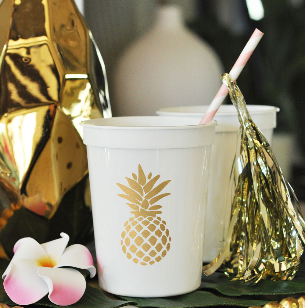 Metallic Gold Pineapple Cups (set of 25)