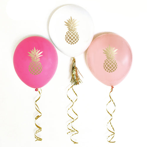 Metallic Gold Pineapple Balloons (set of 6)