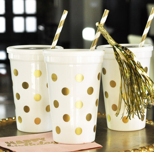 25 White & Gold Polka Dot Party Cups w/Lids