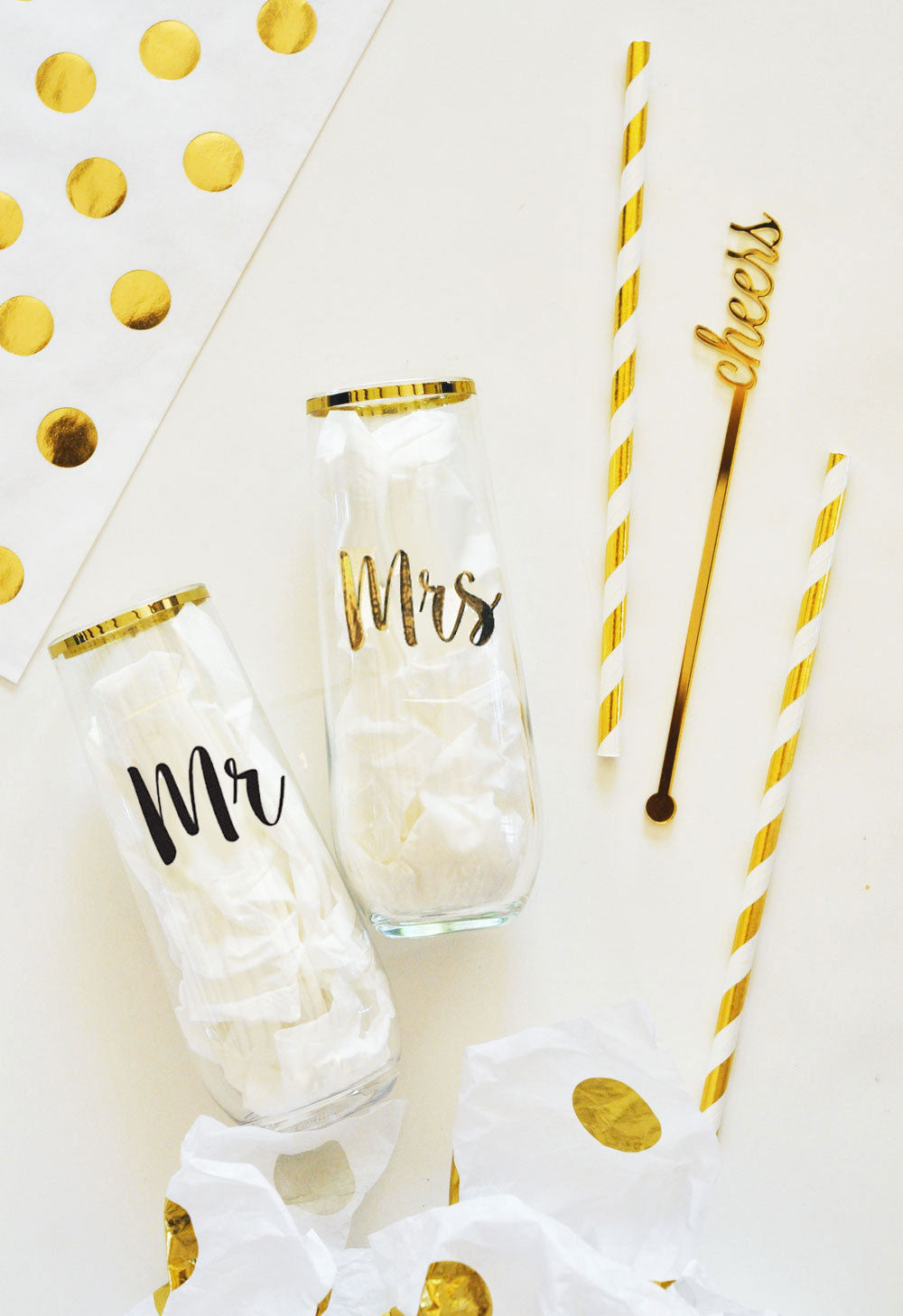 Mr & Mrs Stemless Glass Set