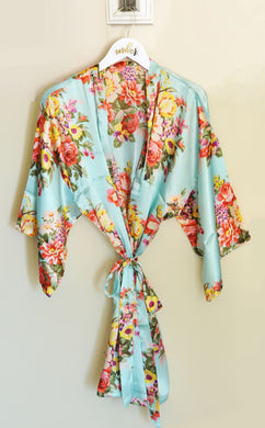 Satin Floral Bridal Party Robe w/Personalized hanger Set