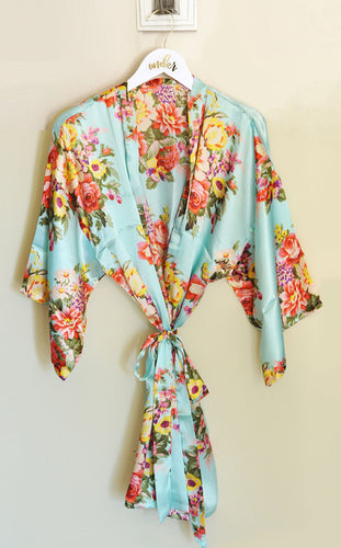 6 or More Satin Floral Bridal Party Robes With or Without Hangers