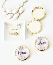 6 or More Personalized Pink Marble Compacts