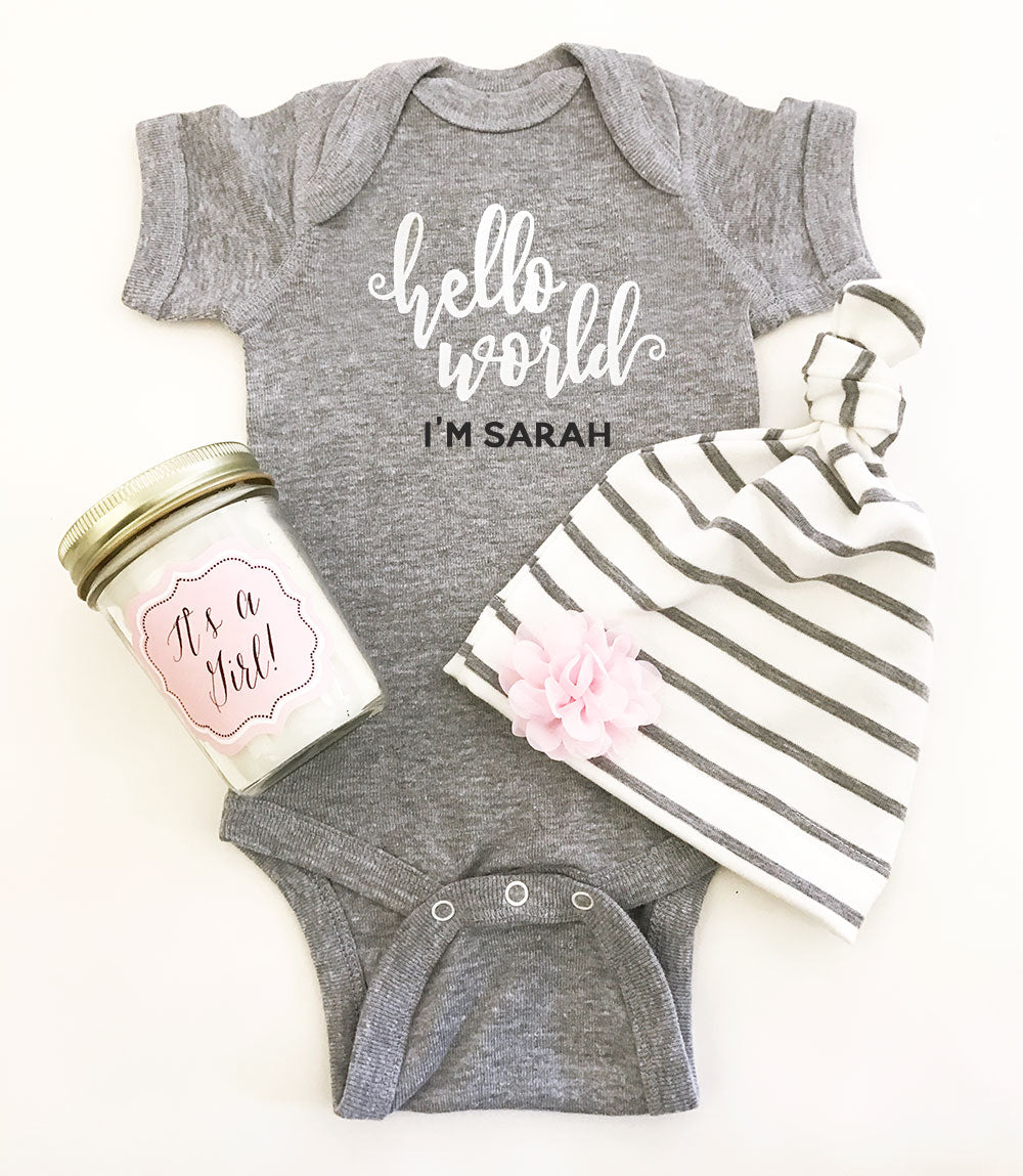 Hello World, Personalized Girl Gift Set