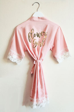 Pink Lace & Cotton Flower Girl Robe