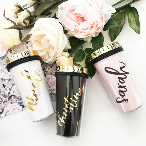 6 or More Personalized Travel Tumblers - Gold Lid