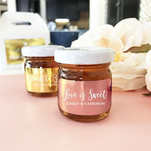 20 Personalized Metallic Foil Honey Jars