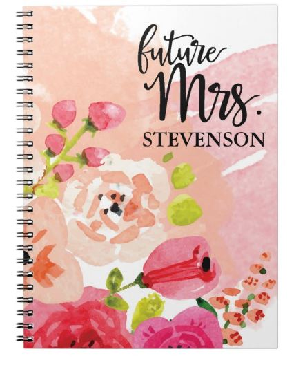 Pretty Pink Floral Future Mrs. Notebook