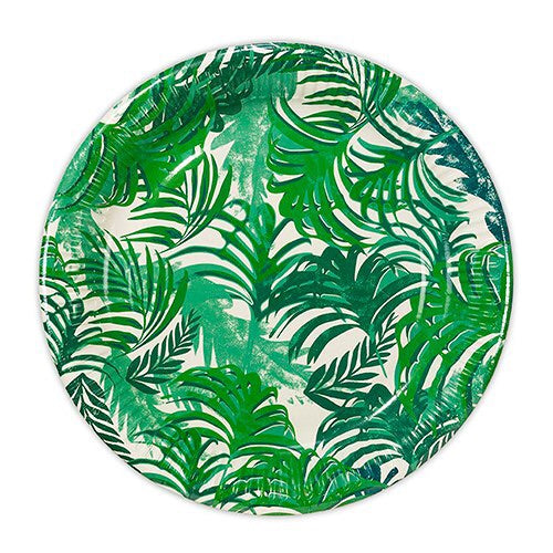 Tropical Leaf Party Plates - Large 12 Per Pack