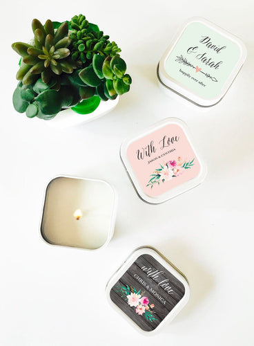 Personalized Floral Garden Square Candle Tins - 1 set of 24