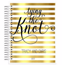 Gold and White Striped Personalized Tying The Knot 18 Month Wedding Planner