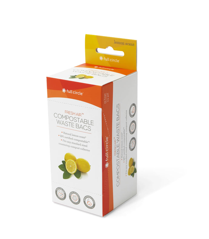 Fresh Air lemon scented compostable waste bags