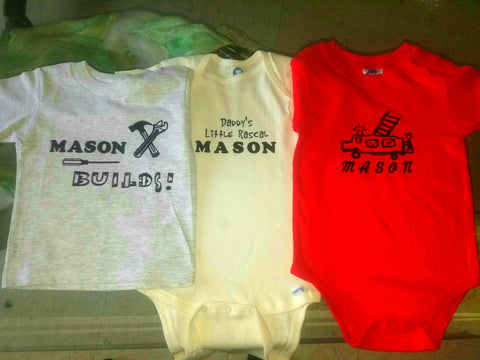 3 for $25 Personalized Newborn onesies/shirts