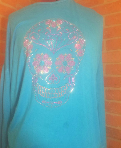 ONLY $15 Womens bling sugar skull size S M L XL