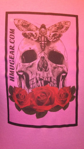 HMU skull and rose on pink