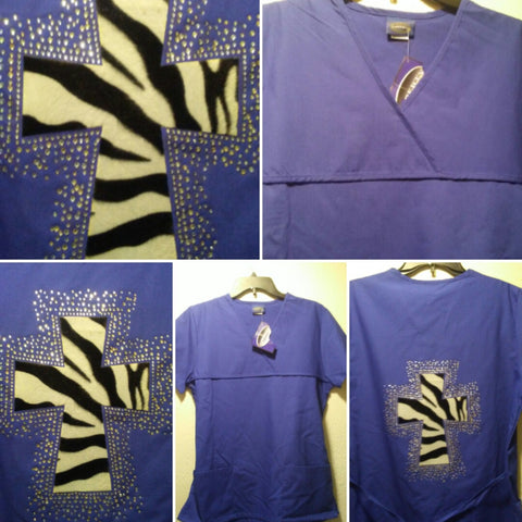 Adult Small rhinestone bling scrub top only $20!