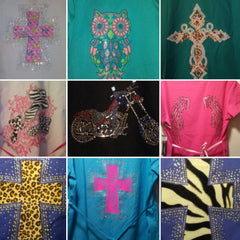 6 pc size Large rhinestone bling scrub set (tops only)