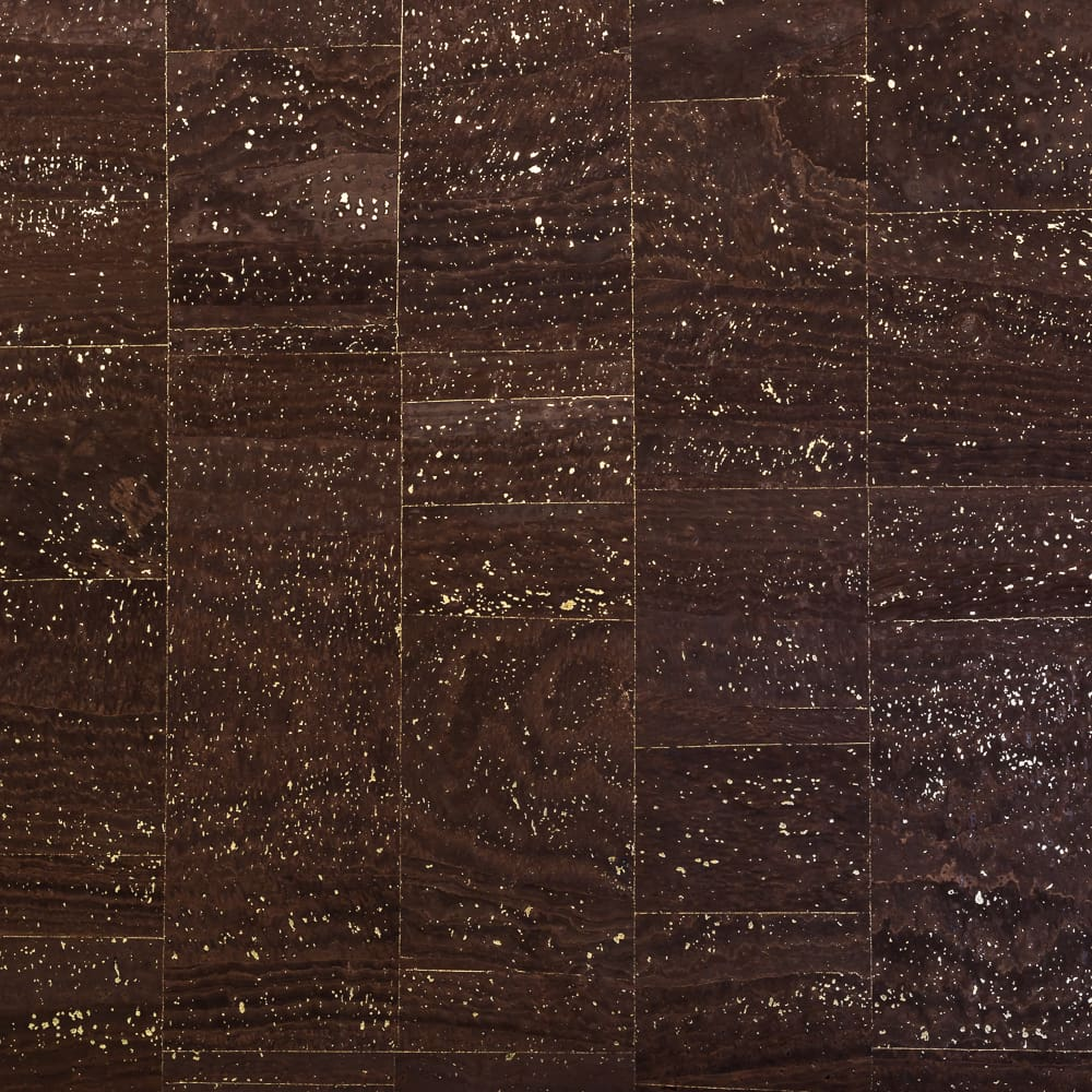 Cork Fabric - Dark Chocolate with Gold - Fabric Funhouse