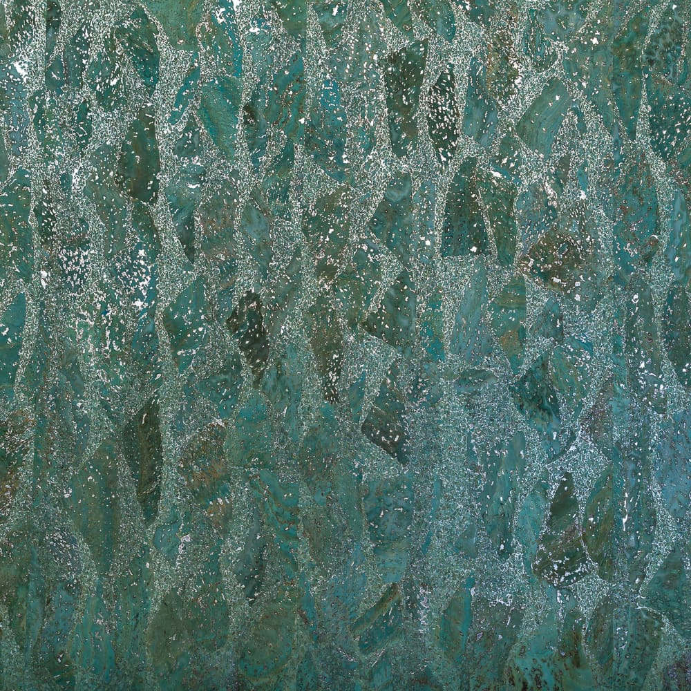 Fabric Funhouse Cork Fabric in Mermaid Waves with Silver, a part of our Metallic Collection which features metallic silver fleck on a bed of blue and green Teal