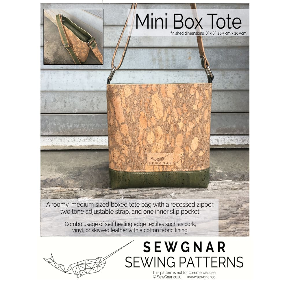 Sewing Pattern - SewGnar Mini Box Tote Sewing Pattern