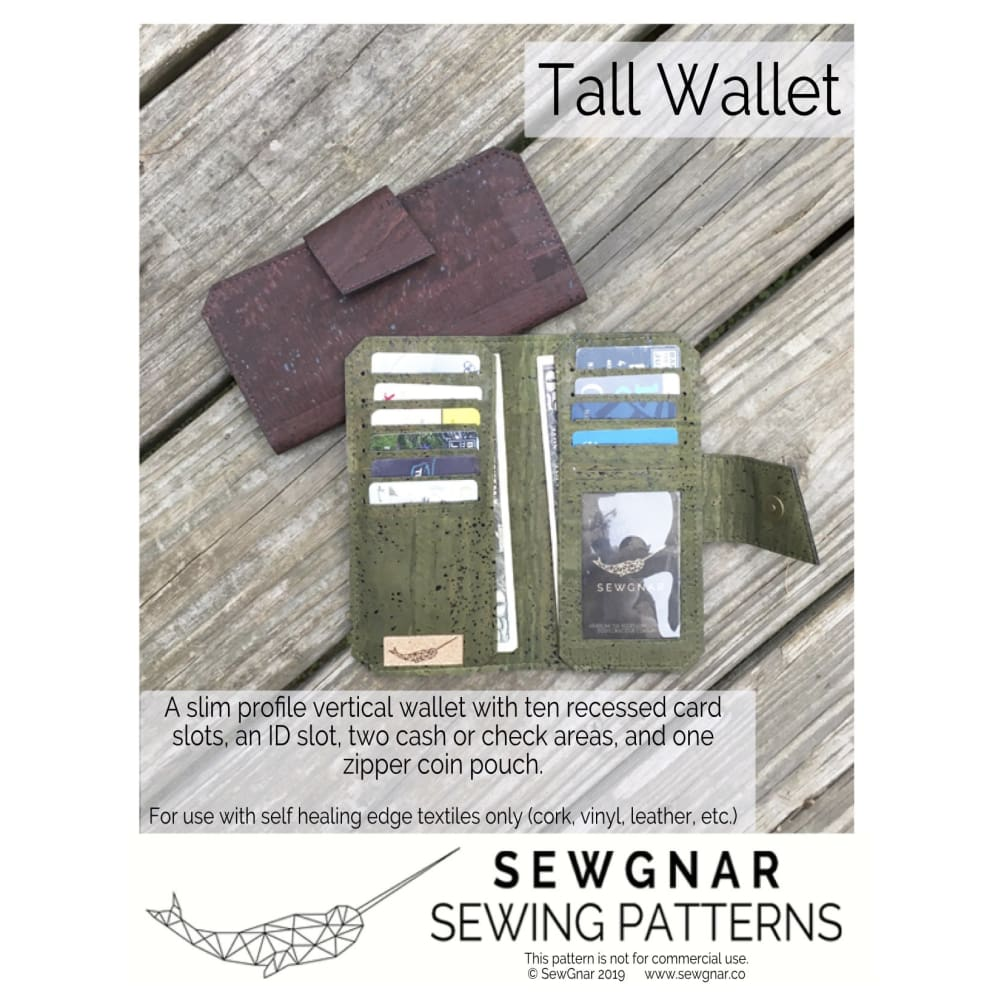 Sewing Pattern - SewGnar Tall Wallet Sewing Pattern