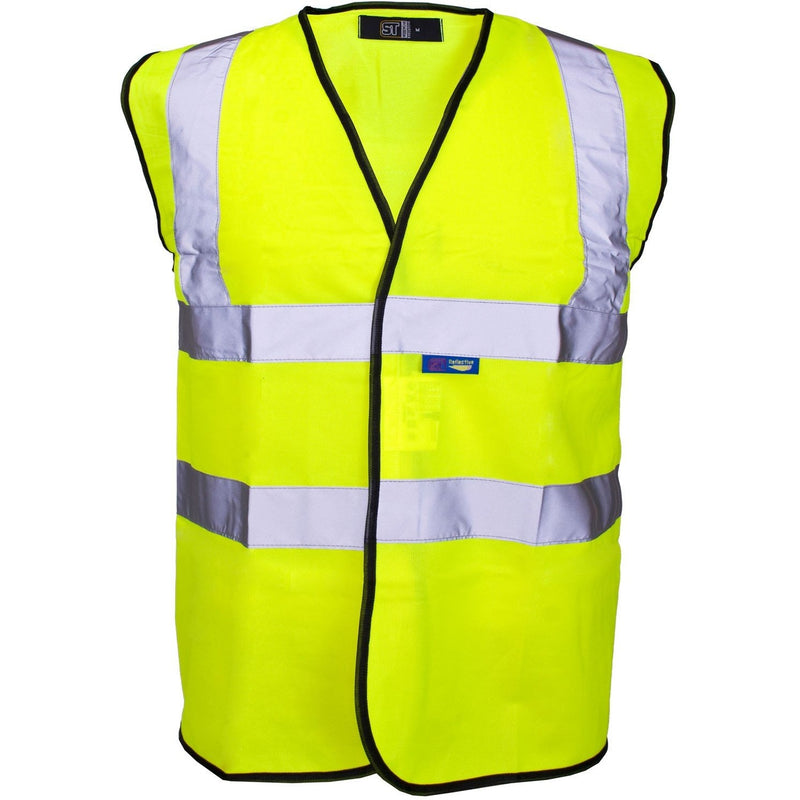 Hi Visibility Vest / Waistcoat Yellow With Black Piping - 3524