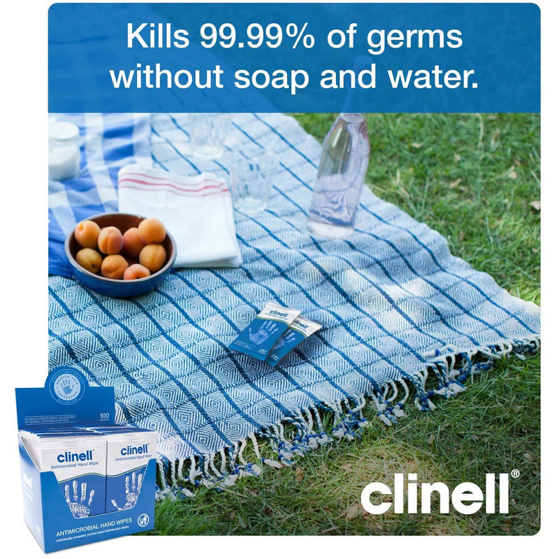 Clinell Antimicrobial Hand Wipes (100 Individual Wipes) - CAHW100