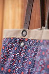The Reversible Alie Bag - Nutmeg with Blue and Red Vintage Bursts