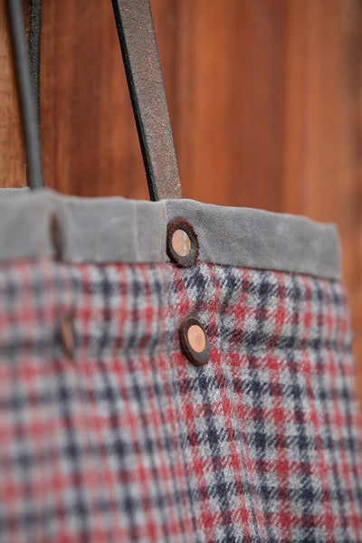 The Reversible Alie Bag - Slate with Black, Grey & Red Plaid