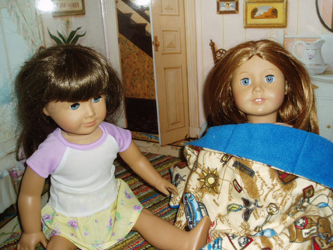 American girl dolls talking with each other.