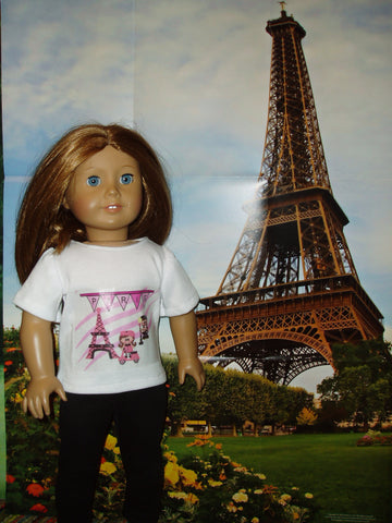 American girl Emily wearing a Paris outfit at the Eiffel Tower.