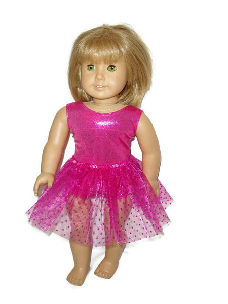 "Hot Pink sleeveless leotard with pink tutu that has sparkly dots.  18"" doll clothes fits American girl dolls."
