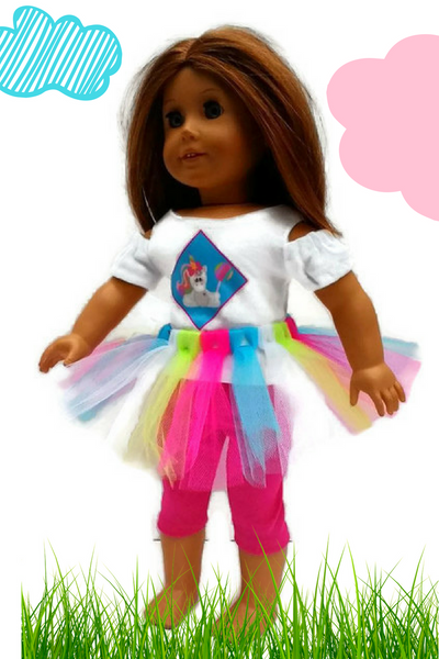 "3 piece, colorful, whimsical unicorn outfit that fits American girl dolls.  Unicorn shirt, coloruful tutu, and sparkly pink leggings are included in this 18"" doll clothes."