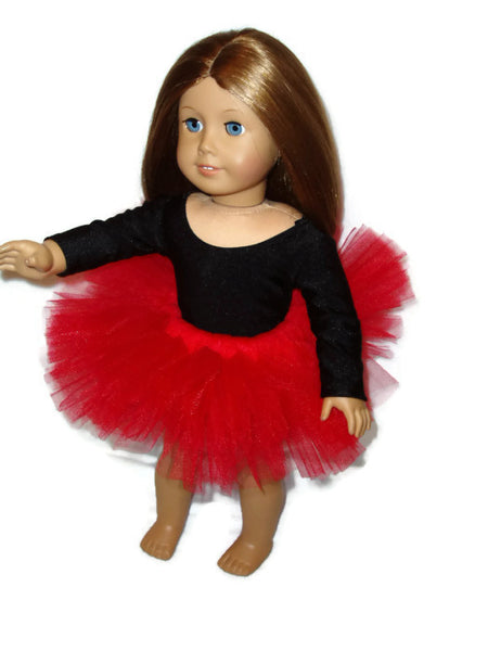 Red ballet tutu doll clothes fits American girl dolls.