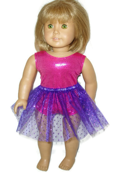"Hot Pink sleeveless leotard with purple tutu that has sparkly dots.  18"" doll clothes fits American girl dolls."