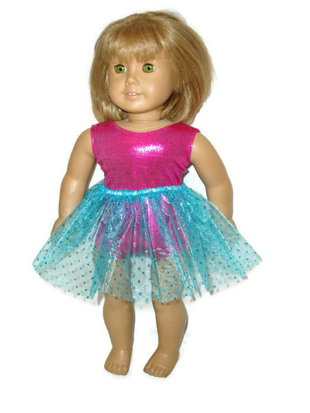 "Hot pink sleeveless leotard with teal tutu that has sparkly dots.  18"" doll clothes fits American girl dolls."