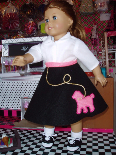 Retro 1950's Poodle Skirt Outfit Doll Clothes fits American Girl Dolls 4 piece set