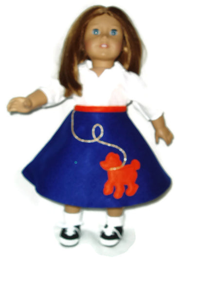4pc Retro 1950's Blue n Orange Poodle Skirt Outfit Doll Clothes fits American Girl Dolls