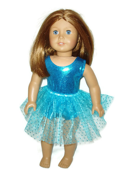 "Teal sleeveless leotard with teal tutu that has sparkly dots.  18"" doll clothes fits American girl dolls."