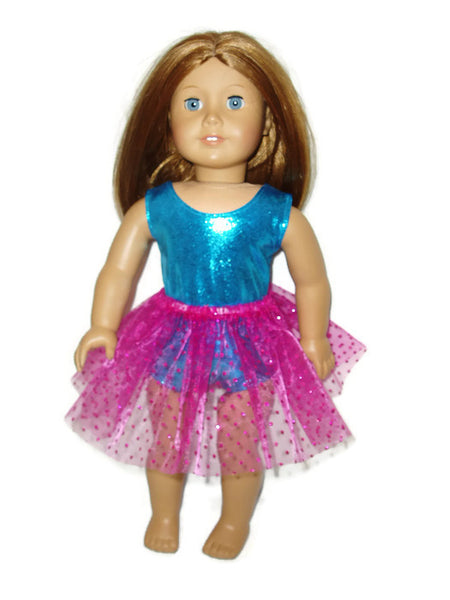 "Teal sleeveless leotard with hot pink tutu that has sparkly dots.  18"" doll clothes fits American girl dolls."