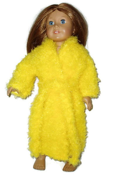Super Soft, fuzzy, bright yellow robe fits American girl dolls.