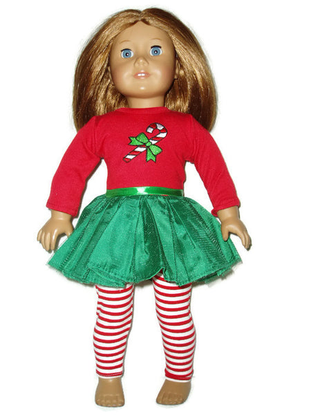 Christmas dress and leggings fits American girl dolls.