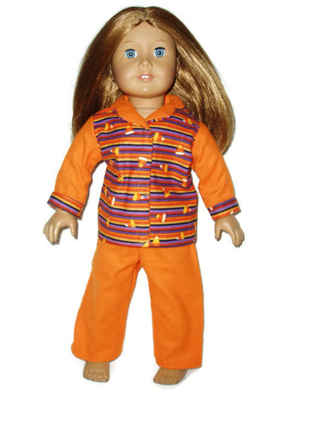 Candy corn print Flannel pajamas that fits American girl dolls.
