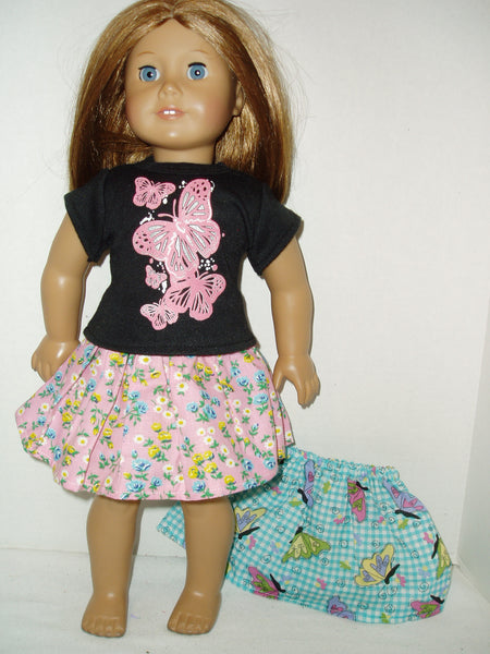 "1 butterfly t-shirt, 2 skirts 18"" Doll Clothes fits American girl dolls."