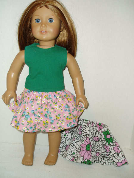 1 tank top & 2 skirts doll clothes fits American girl dolls.