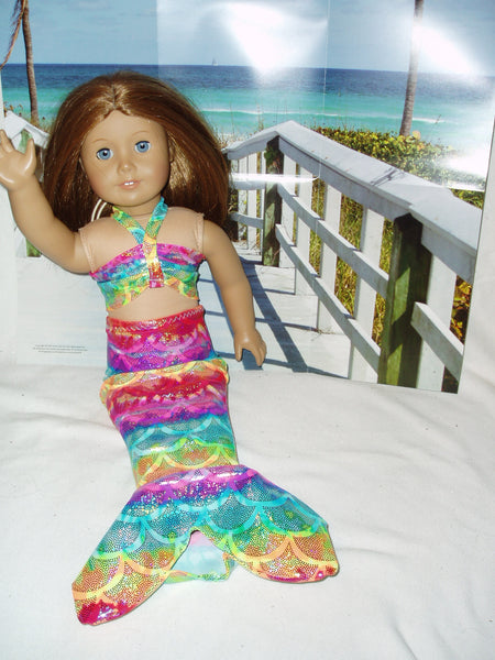 Colorful fish scale Mermaid Costume fits American Girl dolls!