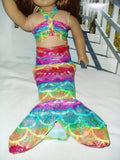 Colorful fish scale Mermaid tail and top Costume fits American girl dolls.