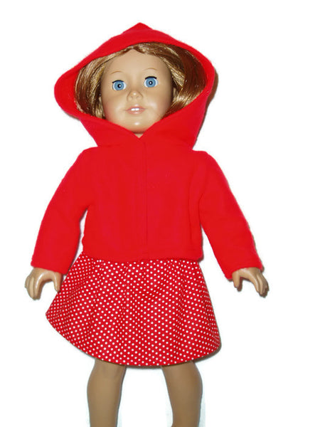 4 pc Red Doll Clothes Outfit fits American Girl dolls : Skirt, Tank Top, Hoodie, and Mittens.