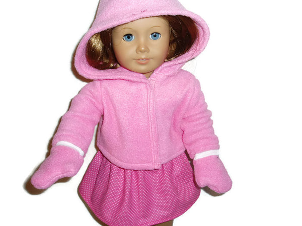 4 pc Skirt, Tank Top, Hoodie, & Mittens that fits American girl dollsl.